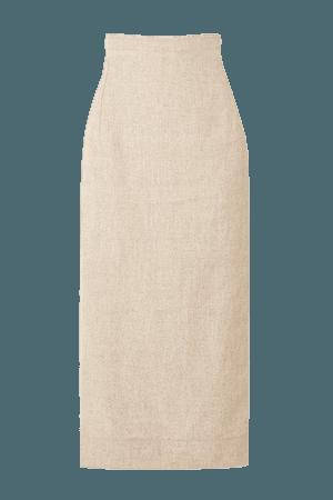 Cutout Woven Midi Skirt - Beige