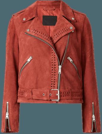 ALLSAINTS US: Womens Braided Suede Biker Jacket (arabian_spice_red)