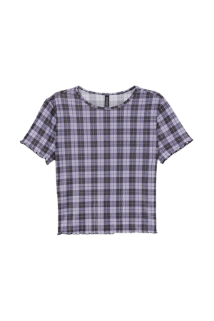 Short Top - Purple/black checked - Ladies | H&M US
