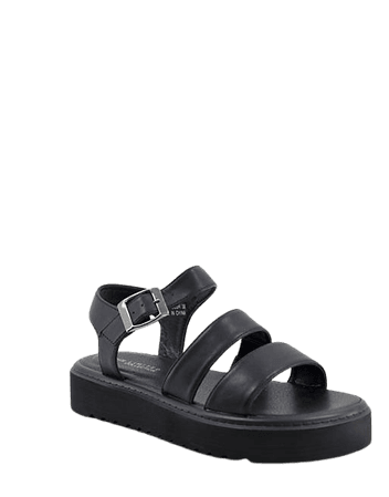 Yours chunky strap sandals in black | ASOS
