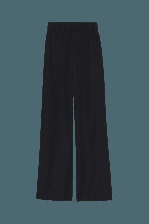 Wide-leg Silk-blend Pants - Black - Ladies | H&M US