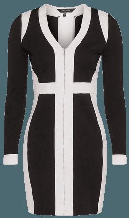 Zip Front Colour Block Ponte Dress | Karen Millen