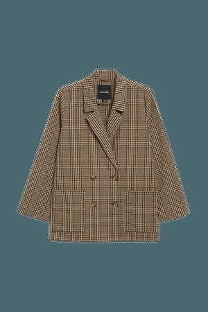 Double-breasted blazer - Beige & beige checks - Blazers - Monki WW