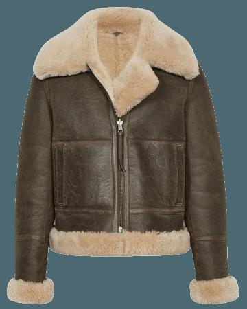 Hadi Brown Reversible Shearling Aviator Jacket – REISS