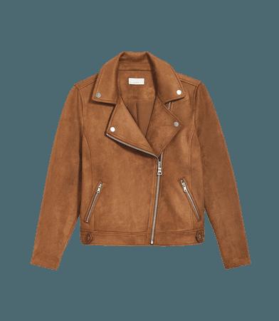 Faux Suede Moto Jacket | LOFT