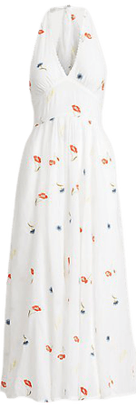 Embroidered Cotton Halter Dress