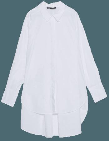 OVERSIZED POPLIN SHIRT   ZARA United States white