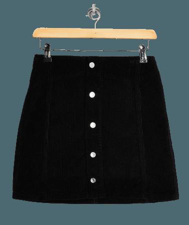 Black Corduroy Button Through Mini Skirt | Topshop