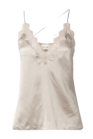 The Everly Lace-trimmed Silk-charmeuse Camisole - Ivory