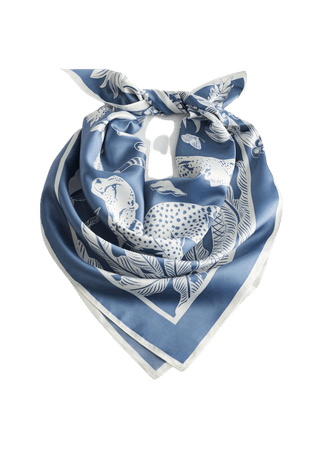Leopard Graphic Print Scarf - Blue - Lightweight scarves - & Other Stories