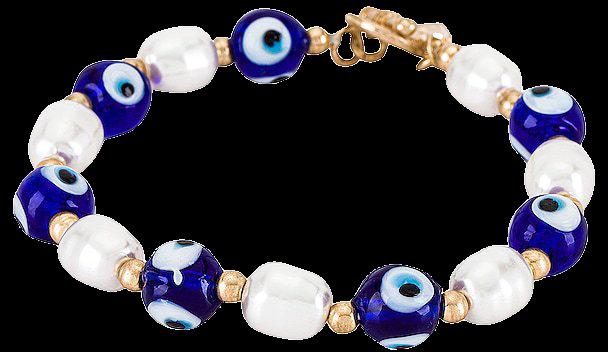 8 Other Reasons Evil Eye Beaded Bracelet in Blue & White   REVOLVE