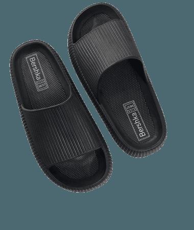 Textured flat sandals - Shoes - Woman   Bershka