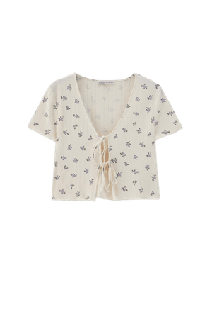 Floral T-shirt with bow - pull&bear