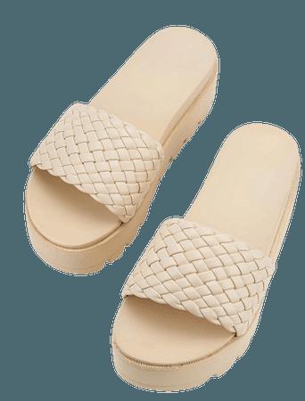Minimalist Braided Design Flatform Mules   SHEIN USA