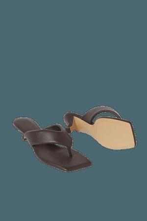 Toe-post Slip-on Sandals - Dark brown - Ladies   H&M US