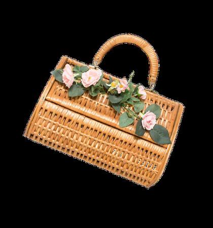Vintage Basket Purse 1950s Brown Wood Wicker Bag Floral | Etsy