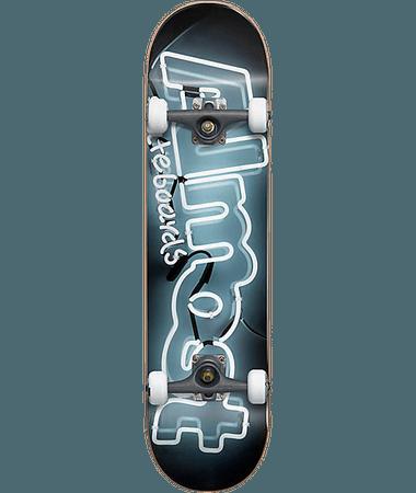 "Almost Neon Sign Black & White 7.625"" Skateboard Complete"