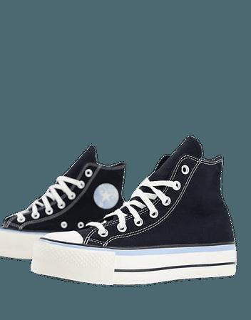 Converse Chuck Taylor All Star Hi Lift Hybrid Floral platform sneakers in black | ASOS