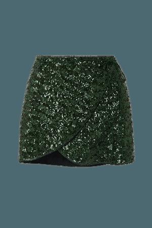Sequined Crepe Wrap Mini Skirt - Dark green