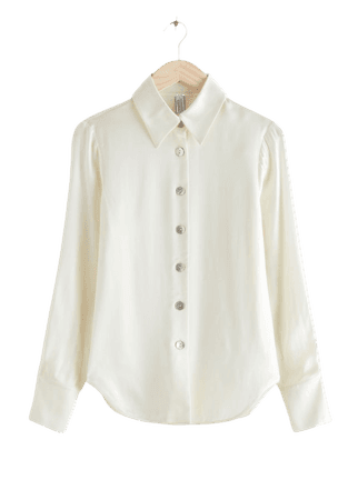 Shell Button Satin Blouse - White - Blouses - & Other Stories