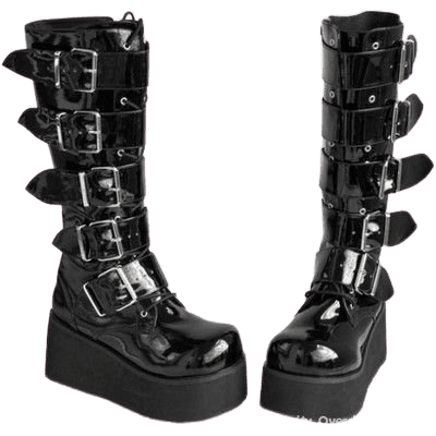 Demonia patent leather buckle lace up zip Trashville platform cyber goth boots