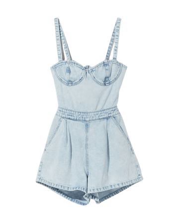 Denim overalls with crossover waistband at the back - Dresses - Woman | Bershka