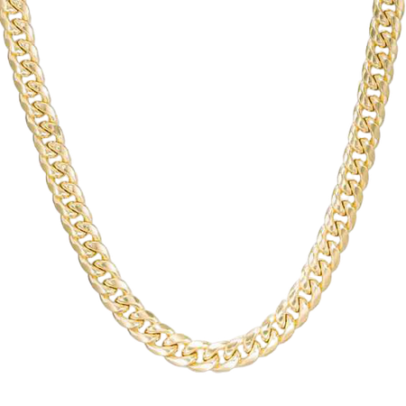 """Men's 7.5mm Cuban Link Chain Necklace in 10K Gold - 24"""" 