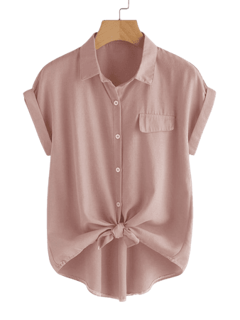 Roll Sleeve Button Front Blouse | SHEIN USA