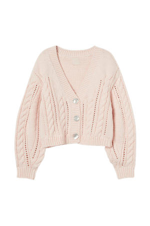 Cable-knit Cardigan - Pink