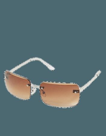 ASOS DESIGN 90's rimless mid square sunglasses with grad brown lens | ASOS
