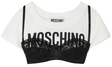 Moschino | Cropped layered lace-trimmed satin and printed cotton-jersey top | NET-A-PORTER.COM