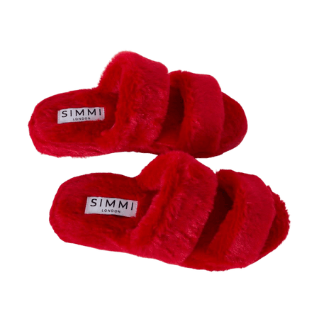 Courtney Red Fluffy Faux Fur Double Strap Slippers