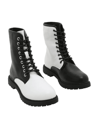 Black & White Color-Block Combat Boots