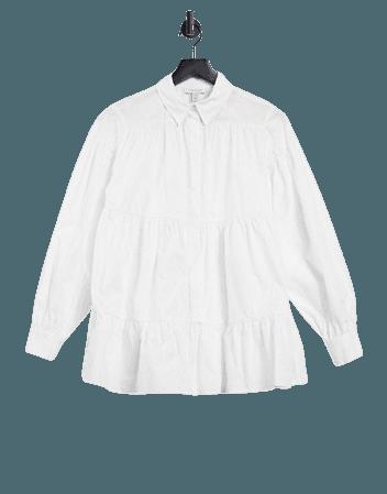 Topshop tiered poplin shirt in white | ASOS