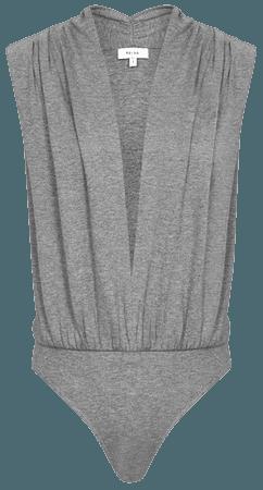 Rosalba Dark Grey Sleeveless Plunge Bodysuit – REISS
