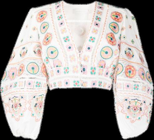 Zimmermann printed puff-sleeve top