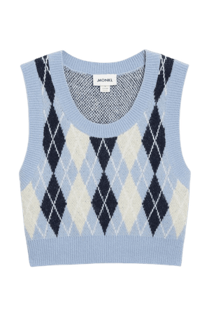 Knit vest - Diamond plaid - Knitted tops - Monki WW