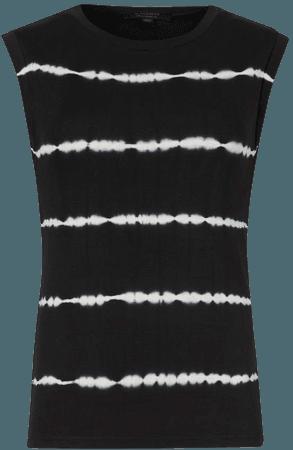 ALLSAINTS US: Womens Imogen Tie Dye Stripe Tank (black)