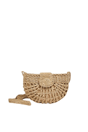 Woven paper crossbody bag with flap - pull&bear