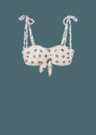 Bow polka-dot crop top - Women | Mango USA