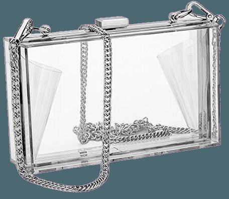 Women Acrylic Clear Clutch Transparent Crossbody Purse Evening Bag Sport Events Stadium Approved Chain Strap Silver: Handbags: Amazon.com