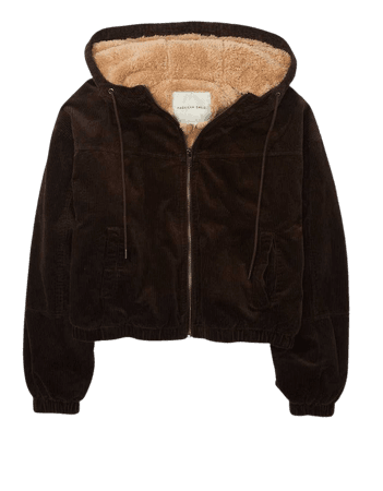 AE Corduroy Sherpa Lined Hooded Bomber Jacket