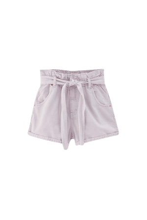 Paperbag shorts with belt - pull&bear