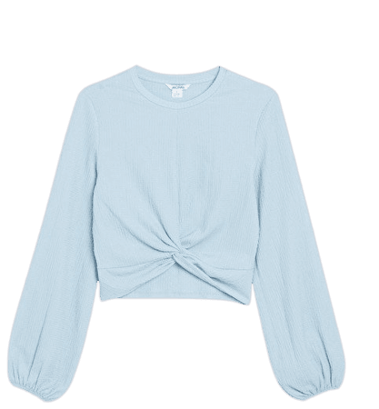 Long sleeve crop top - Light blue - Cropped tops - Monki WW