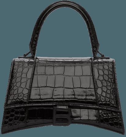 Balenciaga: Black Croc Small Hourglass Top Handle Bag   SSENSE