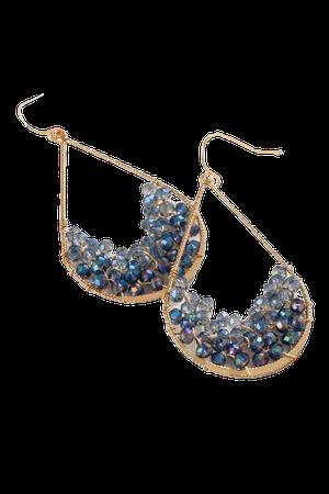 Sydney Beaded Teardrop Earrings in Blue | francesca's