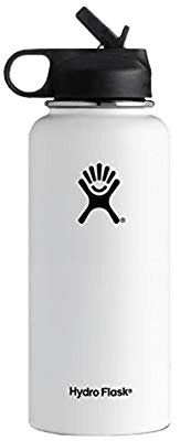 Amazon.com : Hydro Flask Vacuum Insulated Stainless Steel Water Bottle Wide Mouth with Straw Lid (White, 32-Ounce) : Sports & Outdoors