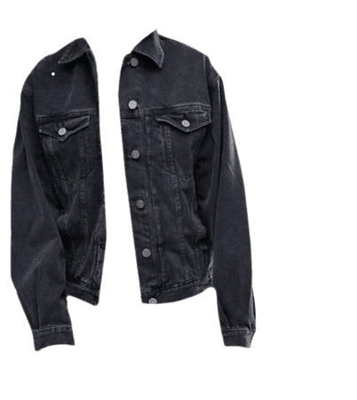 *clipped by @luci-her* Grey Black Charcoal Denim Jacket