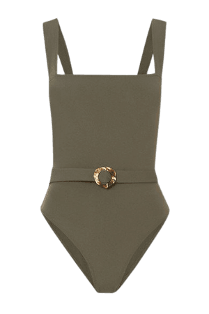 Blixen Belted Swimsuit - Army green