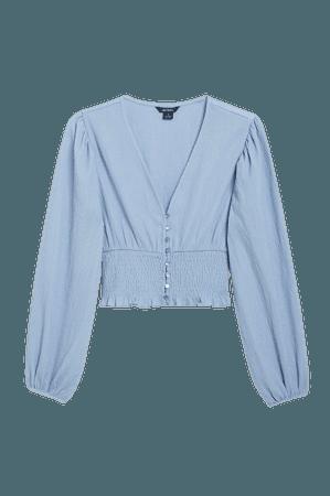 Shirred waist blouse - Blue - Shirts & Blouses - Monki WW